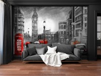 Monochrome Charcoal City Landscape and Red Bus Wallpaper Mural