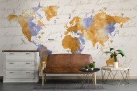 Orange World Map Wallpaper Mural