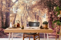 Watercolor Forest and Elk Wallpaper Mural