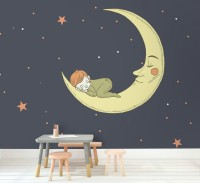 Cartoon Moon with Little Child and Night Sky Wallpaper Mural