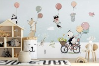Cartoon Winter with Cute Animal Wallpaper Mural