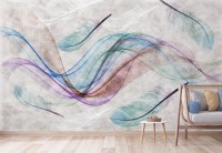 Colorful Abstract Feather Wallpaper Mural