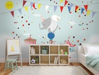 Colorful Circus with Animals Wallpaper Mural