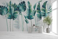 Monochrome Green Banana Leaf Wallpaper Mural