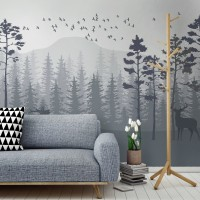 Monochrome Mountain and Forest Scape Wallpaper Mural