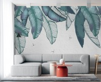 Vintage Leaves and Dragonfly Wallpaper Mural