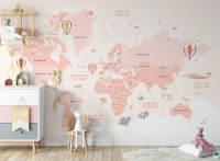 Kids Girls Cartoon Pink World Map Wallpaper Mural