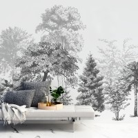 Black and White Forest Wallpaper Mural