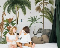Kids Wild Tropical Animals with Palm Trees Wallpaper Mural