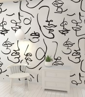 Abstract Charming Artistic Faces Wallpaper Mural