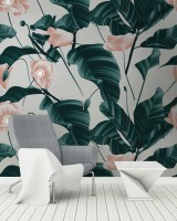 Pink Flower and Leaves Wallpaper Mural