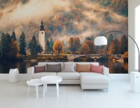 Sunset in Mountain Forest Nature Wallpaper Mural