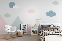Blue Pink Mountains and Clouds Wallpaper Mural