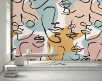 Colorful Abstract Charming Faces Wallpaper Mural