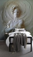 3D Embossed Look Cement Female Sculpture Wallpaper Mural
