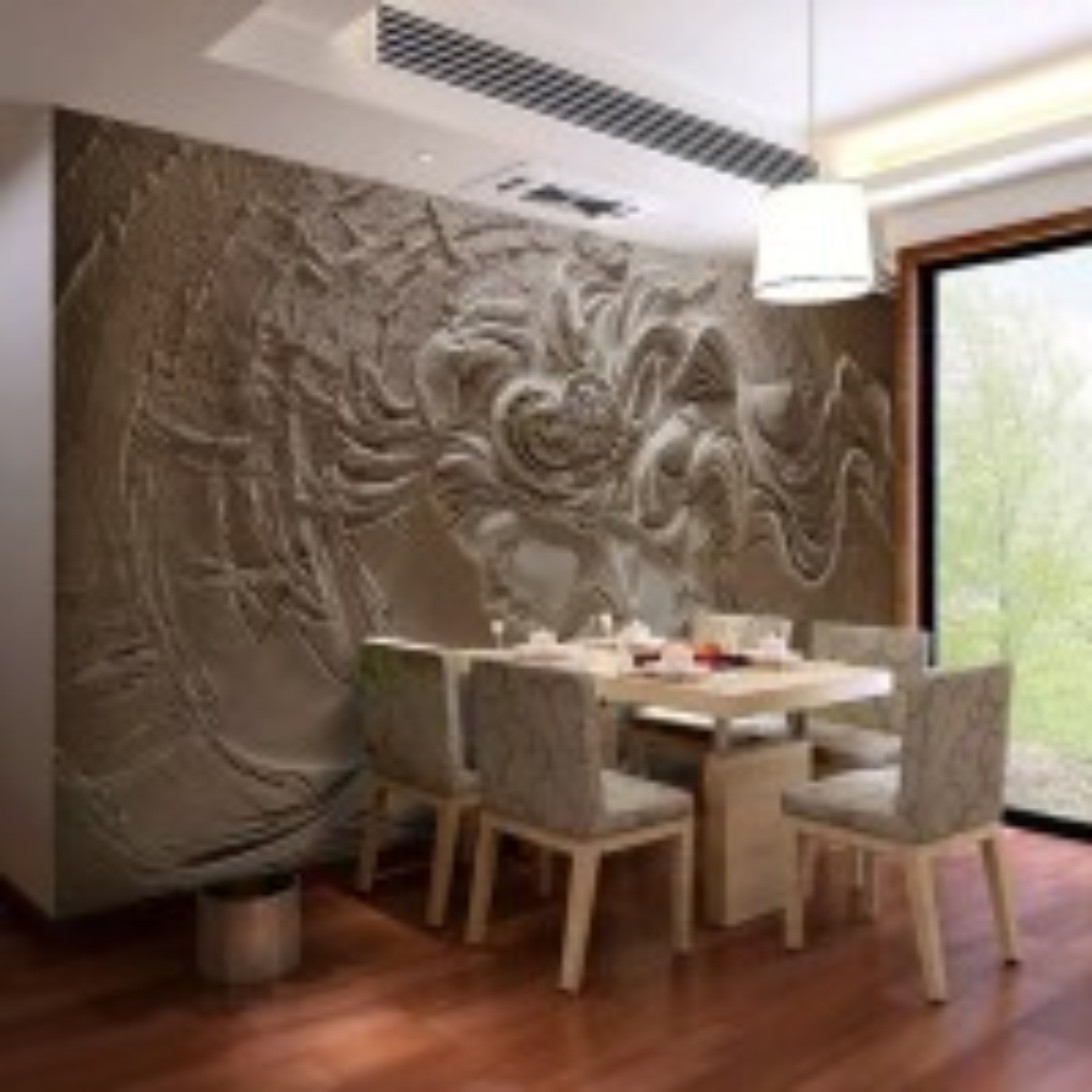 3D Embossed Look Cement Female Sculpture Wallpaper Mural