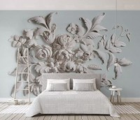 3D Embossed Look Cement Flowers Wallpaper Mural