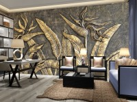 3D Embossed Look Gold Sculpture Wallpaper Mural