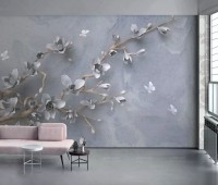3D Embossed Look Magnolia Blossom and Butterfly Wallpaper Mural