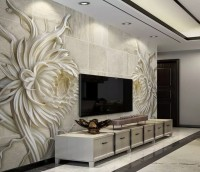 3D Embossed Look Marble Sunflower Wallpaper Mural