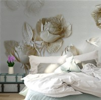 3D Embossed Look Rose Sculpture Wallpaper Mural