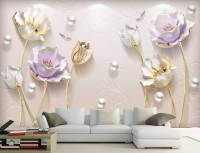 3D Embossed Look Tulip Floral Wallpaper Mural
