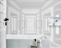 3D Look Abstract Architecture White Corridor Wallpaper Mural