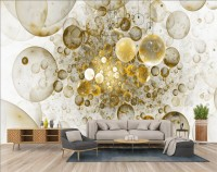 3D Look Abstract Fractal Glitter Bubbles Wallpaper Mural