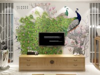 3D  Look Colorful Peacock with Cherry Blossom Wallpaper Mural