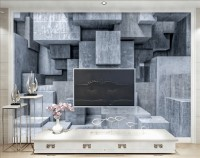 3D Look Concrete Style Gray Abstract Cubes Wallpaper Mural