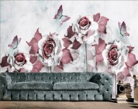 3D Look Floral with Little Butterfly Wallpaper Mural