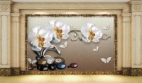 3D Look  Orchid Floral with Pebble Wallpaper Mural