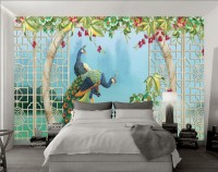 3D Look  Peacock with Sea Landscape Wallpaper Mural