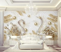 3D Look Swan and Gold Leaf with Water Pattern Wallpaper Mural