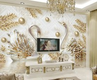 3D Look Swan and Leaf with Water Pattern Wallpaper Mural
