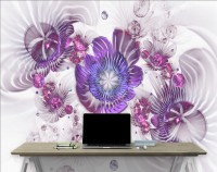 3D Look Violet Floral with Abstract Fractal Wallpaper Mural