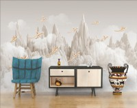 3D Look White Mountain and Cloud Landscape with Birds Wallpaper Mural