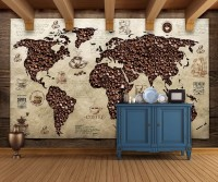 3D Looking Coffee Map Wallpaper Mural