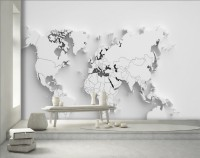 Nordic Style White Decorative 3D Look World Maps Wallpaper Mural