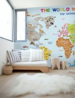 Colorful Kids Map with Historical Place Wallpaper Mural