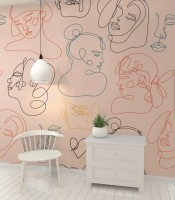 Abstract Pink Faces Wallpaper Mural