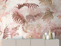 Pink Leaf and Blossom Wallpaper Mural