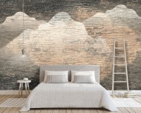 3D Look Abstract Landscape and Old Brown Texture Wallpaper Mural