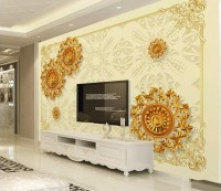 3D Look Gold Shapes Wallpaper Mural