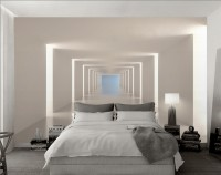 3D Look Illustrational Abstract White Corridor Wallpaper Mural