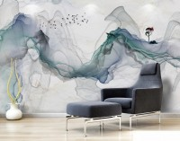 Abstract Colorful Smoke with Tree Wallpaper Mural