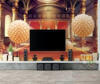 Abstract Palace and Geometric Balls Wallpaper Mural