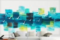 Abstract Turquoise Square Pattern Wallpaper Mural