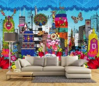 Colorful Abstract Flowery Cityscape Wallpaper Mural