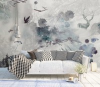 Dark Abstract with Snowflake Wallpaper Mural